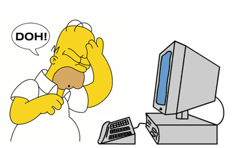 Homer Simpson in front of computer screaming DOH!