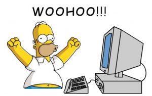 Homer Simpson in front of PC screaming Woo Hoo!
