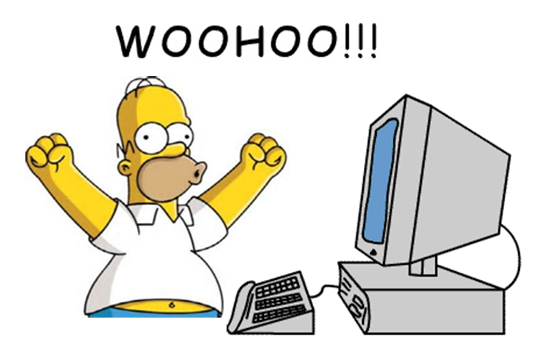 Homer Simpson in front of PC screaming Woo Hoo!