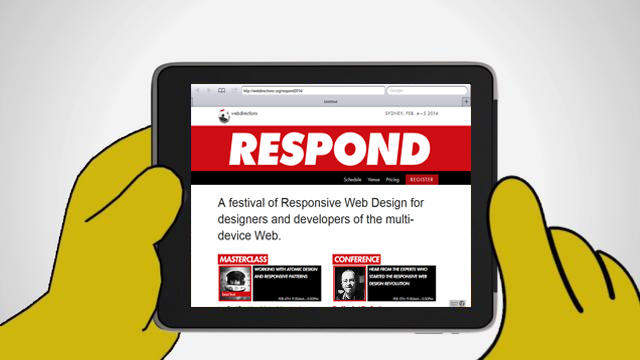 Homer Simpson holding iPad, viewing Respond 2014 website